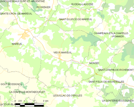 Mapa obce Vieux-Mareuil