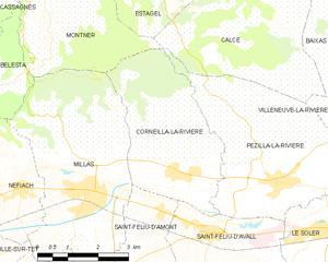 Corneilla-la-Rivière - Map of Corneilla-la-Rivière and its surrounding communes