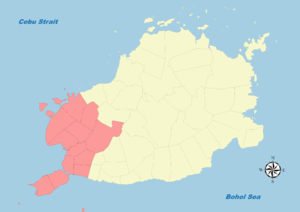 Legislative districts of Bohol - Map of Bohol's First District (1907-1972)
