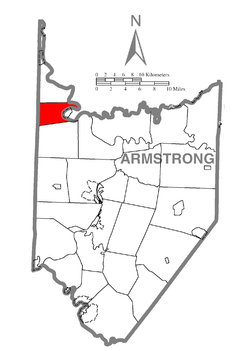Map of Armstrong County, Pennsylvania highlighting Bradys Bend Township