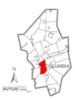 Map of Columbia County, Pennsylvania highlighting Catawissa Township