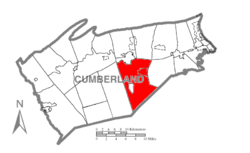 Map of Cumberland County, Pennsylvania highlighting South Middleton Township