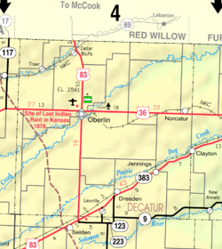 KDOT map of Decatur County (legend)