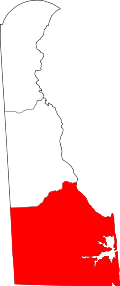Map of Delaware highlighting Sussex County