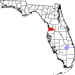 A state map highlighting Hernando County in the middle part of the state. It is medium in size.