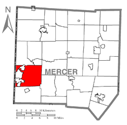 Location of Hermitage in Mercer County