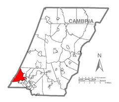 Map of Lower Yoder Township, Cambria County, Pennsylvania Highlighted.png