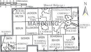 Mahoning County, Ohio - Map of Mahoning County, Ohio with municipal and township labels