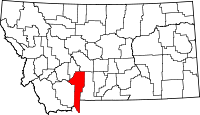 Map of Montana highlighting Gallatin County