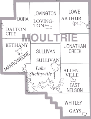 Moultrie County, Illinois - Map of Moultrie County, Illinois