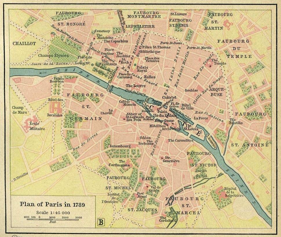 Map of Paris in 1789 by William R Shepherd (died 1834)