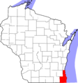 Map of Wisconsin highlighting Milwaukee Racine Kenosha Counties.png