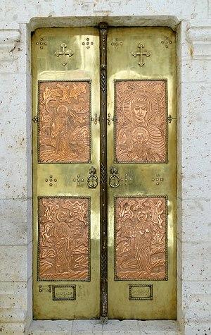 English: Door in the Saint Thecla (Mar Takla) ...