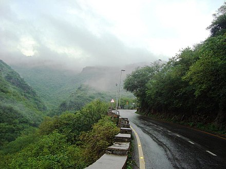Islamabad's annual precipitation allows for the growth of lush forests in the city's hills. Margalla Hills Islamabad.jpg