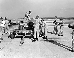 U.S. nuclear weapons in Japan - Mark 7 Atomic bomb being readied by the 8th Tactical Fighter Wing at Kadena Air Base
