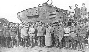 Don Army - Soldiers of the Don Army in 1919 with a Mark V tank.