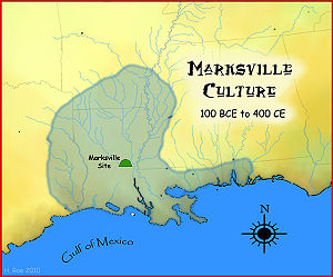 Marksville culture - A map showing the geographical extent of the Marksville cultural period.