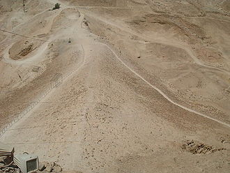 Siege tower - The remains of the Roman siege-ramp at Masada.