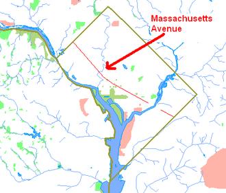Massachusetts Avenue (Washington, D.C.) - Route map of Massachusetts Avenue