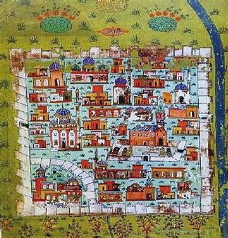 Diyarbakır - 16th century plan of Diyarbakır by Matrakci Nasuh. The eastern half of the walled city depicted here (Sur), was leveled in 2015–2016 during the Kurdish–Turkish conflict. The western half is currently (2017) being demolished.