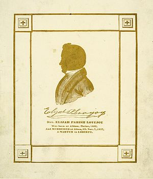 Elijah Parish Lovejoy - Mid 19th century memorial card for Reverend Elijah Parish Lovejoy with silhouette