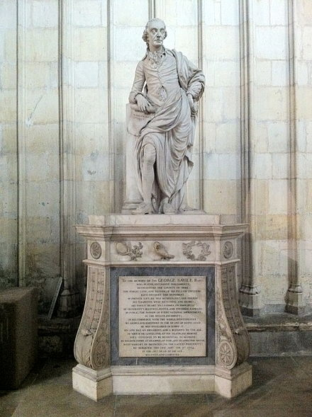 Sir George Savile, 8th Baronet (1726-1784), an odd fellow who famously advocated civil liberties and reliefs in the United Kingdom, including Catholic emancipation. Subsequently, the odd fellows became religiously and politically independent. Memorial to Sir George Savile, Bart in York Minster.jpg