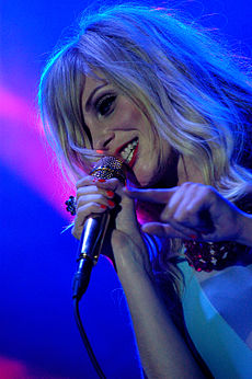 Mette Lindberg performing with The Asteroids Galaxyin Salamanca (Spain).jpg