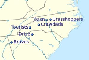 Carolina League - Current team locations