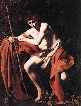 1604 in art - Image: Michelangelo Merisi da Caravaggio St. John the Baptist WGA04155
