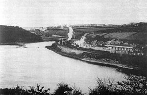 Milford Haven railway station - Hubberston Pill circa 1880, prior to its narrowing, Milford station visible in foreground