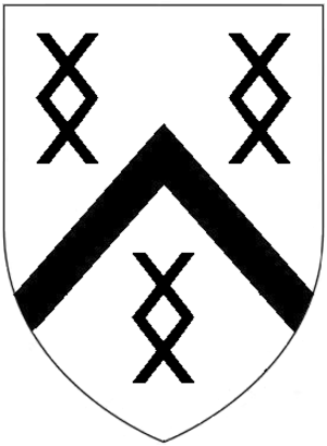 Thomas Milles (bishop) - Canting arms  of Milles of Cockfield, Suffolk: Argent, a chevron between three millrinds sable. As seen in portrait by George Vertue of Rev. Isaac Miles (1638-1720), Vicar of Highclere. Also on funeral hatchment of Jeremiah Milles III (d.1797) in Sawbridgeworth Church