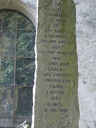 Battle of Alvøen - Inscription of the memorial