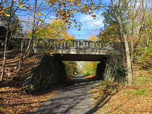 Arlington's Great Meadows - The Minuteman Bikeway at the Solomon Pierce Bridge, which is located adjacent to a trail leading into the heart of Great Meadows.