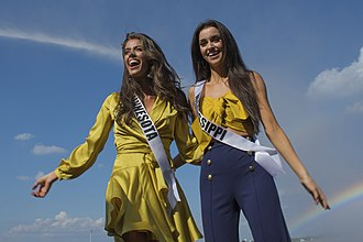 Miss USA - Kalie Wright, Miss Minnesota USA 2018, and Laine Mansour, Miss Mississippi USA 2018, at Barksdale Air Force Base