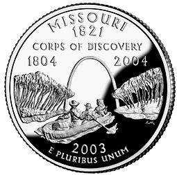 Commemorative US quarter featuring the Lewis and Clark expedition Missouri quarter, reverse side, 2003.jpg