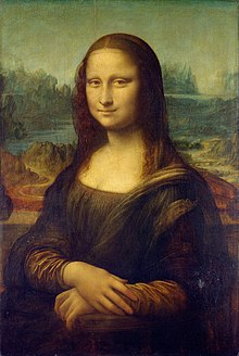 Painting is a portrait of a lady smiling subtly with her hands crossed. She has smooth, white skin and is centered against a landscape background.