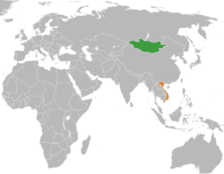 Map indicating locations of Mongolia and Vietnam