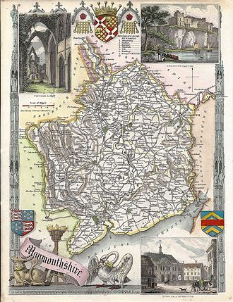 Monmouthshire (historic) - Map of the hundreds of Monmouthshire by Thomas Moule, c. 1831
