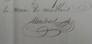 Mont-Louis - Signature of mayor Michel Aldebert in 1815
