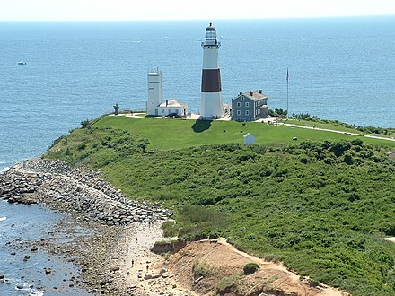 Montauk Point is at Long Island's rural eastern tip. Montauk Point Lighthouse 2008.jpeg