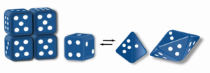 Morpheein - Proteins that function as morpheeins are illustrated using a dice analogy where one dice can morph into two different shapes, cubic and tetrahedral. The illustrated assemblies apply a rule that the dice face with one spot must contact the dice face with four spots. To satisfy the rule for each dice in an assembly, the cubic dice can only form a tetramer and the tetrahedral dice can only assemble to a pentamer. This is analogous to two different conformations (morpheein forms) of a protein subunit each dictating assembly to a different oligomer. All dice in one assembly must be of the same shape before assembly. Thus, for example, the tetramer must come apart, and its component dice must change shape to a pyramid before they can participate in assembly into a pentamer.