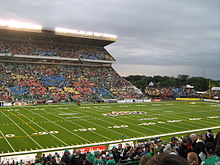 814775d2a1b Now-defunct Mosaic Stadium at Taylor Field prior to a CFL match.