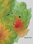 Mount Ōmuro with Lava flow Relief Map, SRTM-1 (English).jpg
