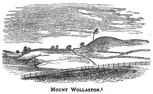 Quincy, Massachusetts - View of Mount Wollaston as it appeared in 1840, virtually unchanged from the time of initial English settlement in 1625. The central part of this sketch was adopted as the seal of Quincy.