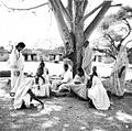 Mrs. Malagar visiting with widows, Bihar, India, undated (16911229266).jpg