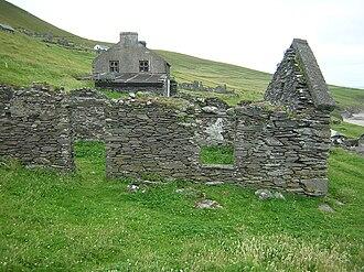 Maurice O'Sullivan - The ruins of the house in which Muiris Ó Súilleabháin grew up on the Great Blasket Island.