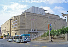 A picture of the Municipal Auditorium, a stone building in Kansas City.
