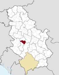Location o the municipality o Čačak within Serbie