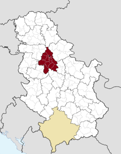 Location of the city of Belgrade within Serbia