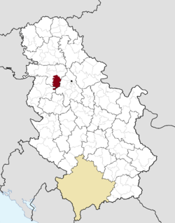 Location of the municipality of Pećinci within Serbia